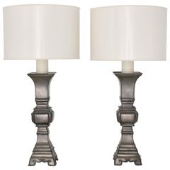 Pair of Mid-Century Pewter Candlestick Table Lamps