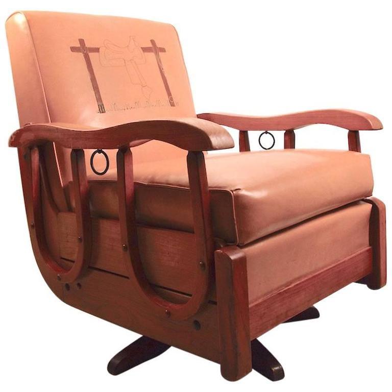 Cowboy Oak Swivel Tilt Rocking Lounge Chair