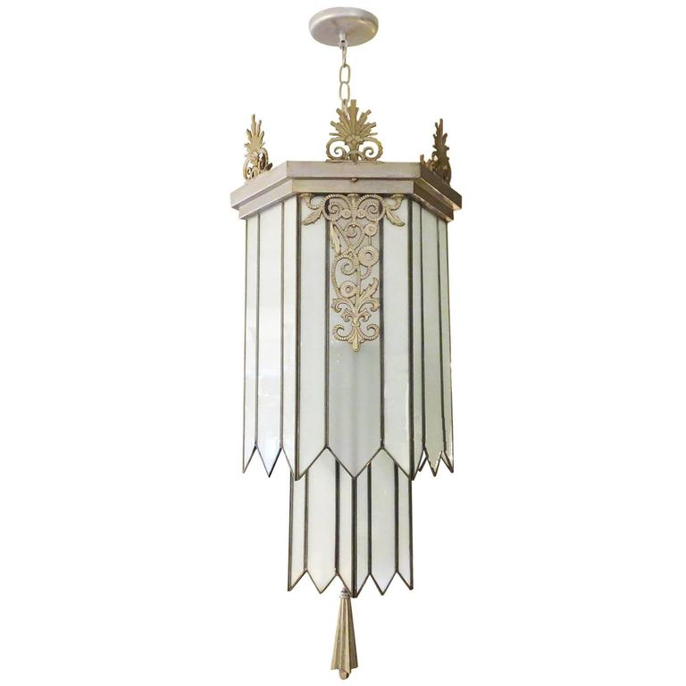 Art Deco Stepped Theater Chandelier For Sale
