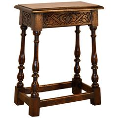 19th Century English Carved Joint Stool