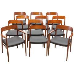 Set of 12 Danish Teak Dining Chairs by N. O. Møller for J. L. Møller Mobelfabrik