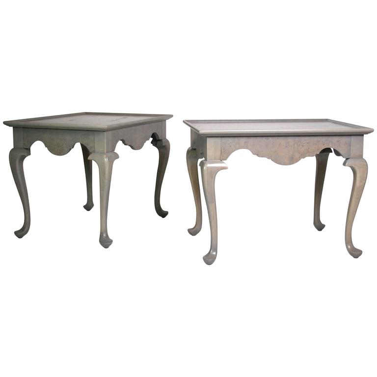 Pair Of Grey Stained Queen Anne Style Side Tables For Sale