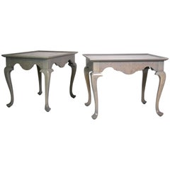Pair of Grey Stained Queen Anne Style Side Tables