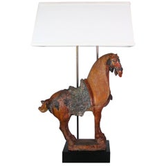 Monumental Tang Dynasty Style Horse Mounted as a Lamp