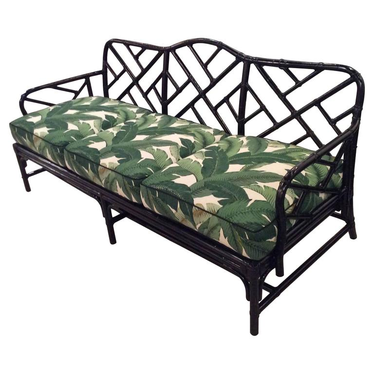 Rattan Chinese Chippendale Sofa Newly Lacquered And Upholstered Tropical Leaf For