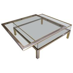 Romeo Rega Signed Coffee Table Sliding Top, Brass and Chrome, 1970s