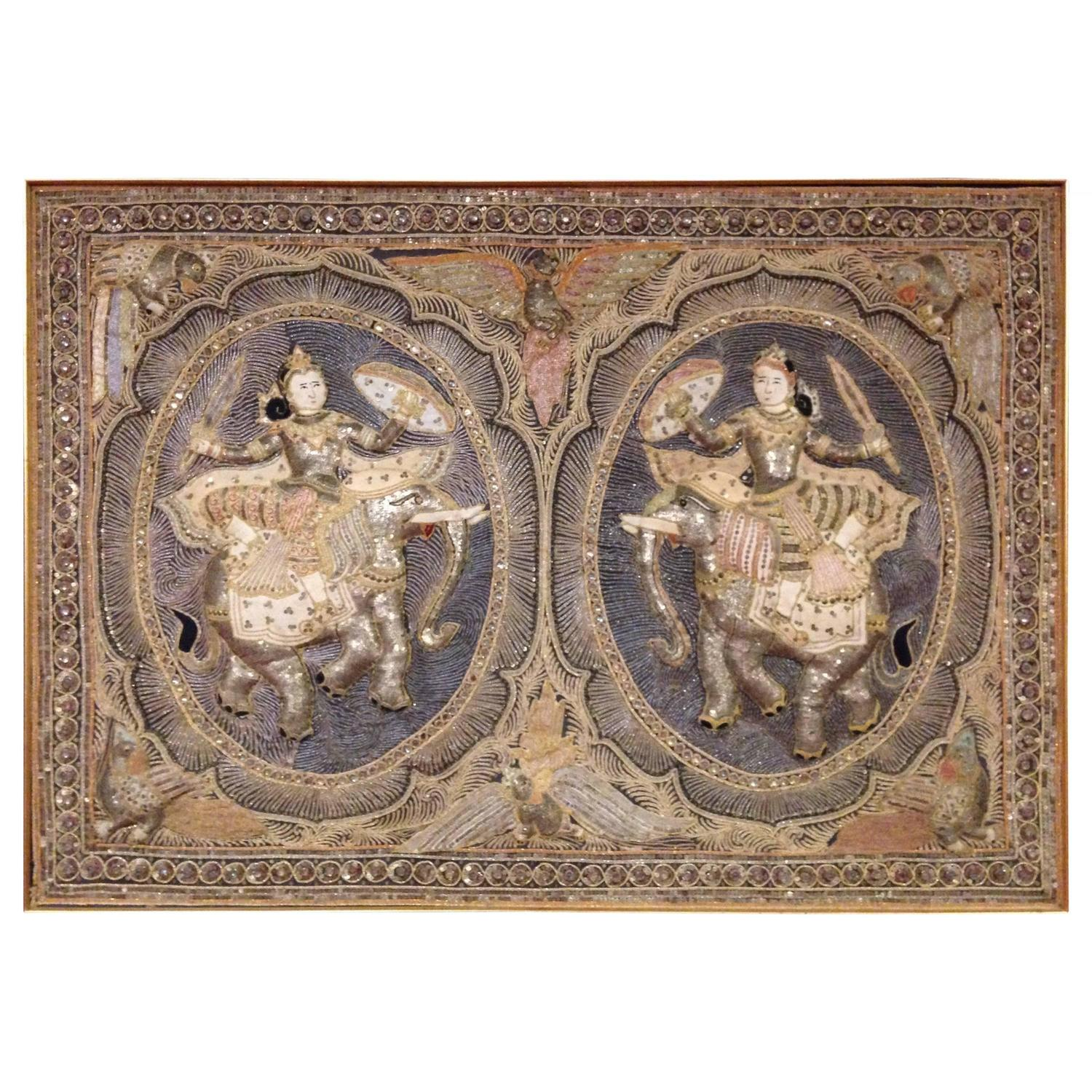 This pair of large burmese arm chairs is no longer available - Burmese Myanmar Kalaga Tapestry