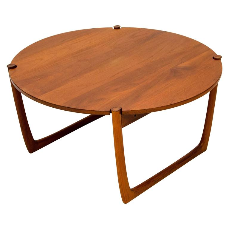 Danish solid teak round coffee table by orla molgaard nielsen and peter hvidt at 1stdibs Solid teak coffee table