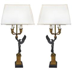 19th Century Bronze Candelabra Lamps, Pair