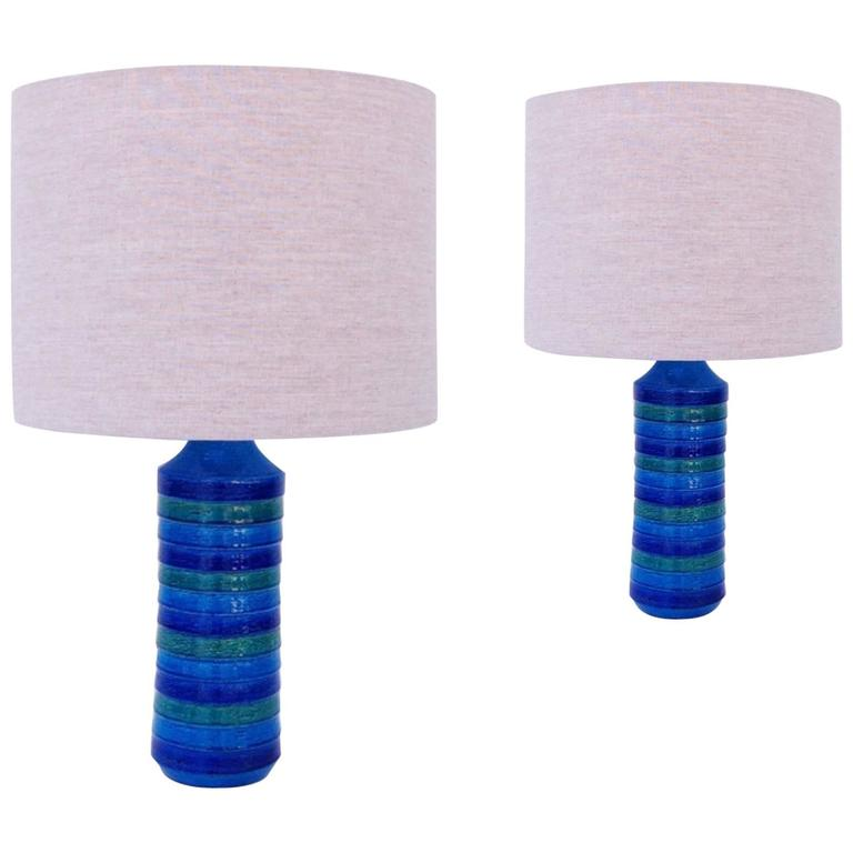 "Pair of Italian Ceramic ""Rimini Blue"" Table Lamps by Bitossi"