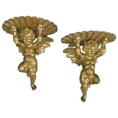 Pair of 19th Century Carved and Gilded Putti Brackets