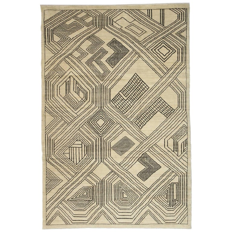 """Orley Shabahang Signature Carpet """"Kuba"""" in Handspun Undyed Wool For Sale"""