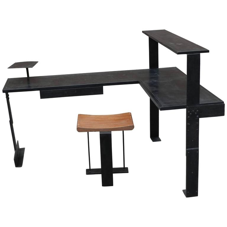 Modernist Art Deco Desk and Its Seat in the Style of Pierre Chareau