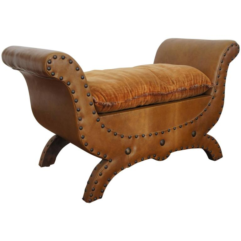 20th Century Renaissance Style Leather Fireplace Bench or Footstool with Pillow