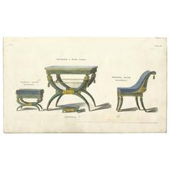 Set of 10 Antique Prints-Empire Furniture Designs by George Smith, 1809