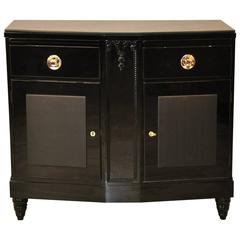 Black Art Deco Commode with Leather Details