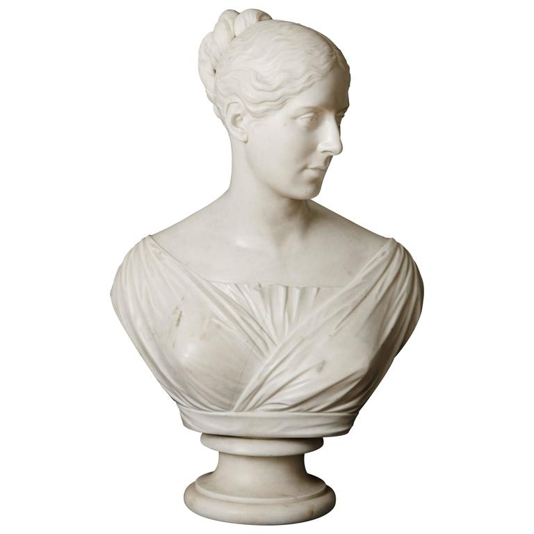 Victorian period marble bust of a lady by E. H. Baily