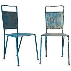 Set of 12 French Mid-Century Painted Iron Chairs in the Style of Matégot