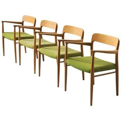 Niels O. Moller Set of four Dining Chairs in Oak and Green Fabric Upholstery