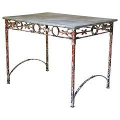 Wrought-Iron and Marble Console, France, circa 1920s