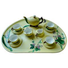 Minton Majolica Eight-Piece Tea Set of the Famous 'Mushroom and Coconut' Design