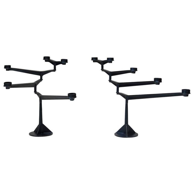 Large Pair of Mid-Century Pivoting Cast Iron Candleholders