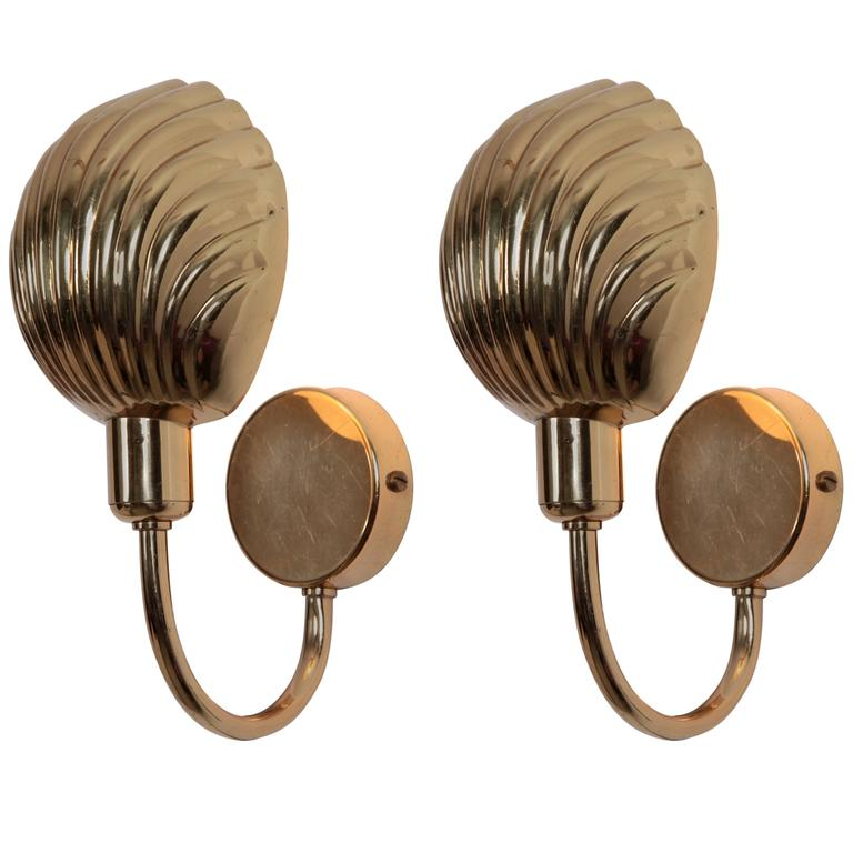 Brass Shell Wall Lights : Pair of Brass Shell Wall Lamps or Sconces at 1stdibs