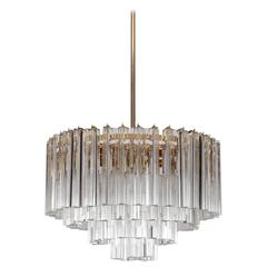 Huge Murano Triedri Glass and Brass Chandelier by Venini
