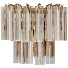 Murano Triedri Glass and Brass Wall Lamps or Sconces by Venini