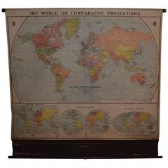 Map of the World on Comparative Projections, Early 1900s