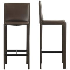 Italian Modern Leather Bar Stools 09, Made in Italy, New