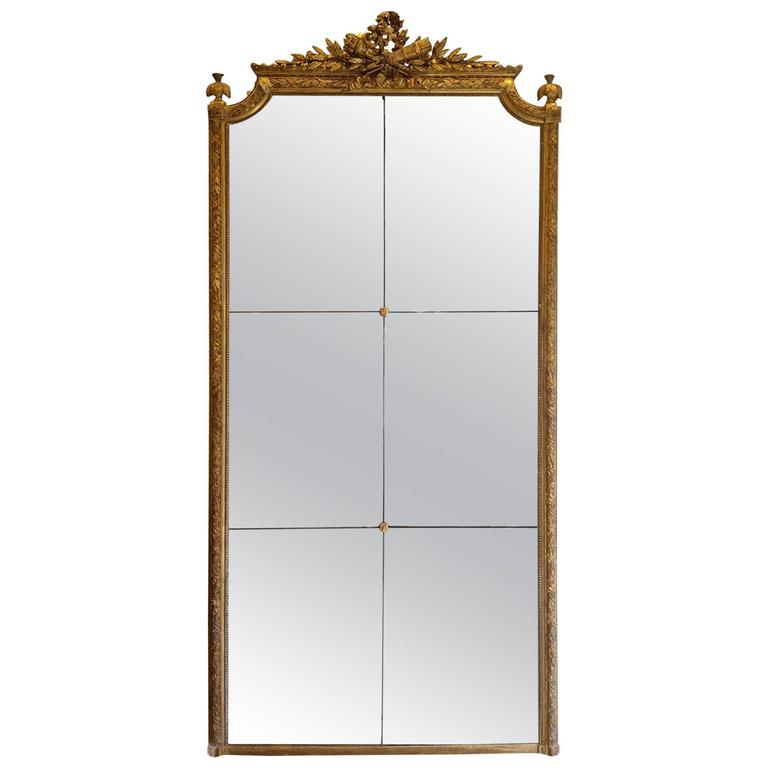 French antique mirror napoleon iii gold leaf at 1stdibs for Vintage floor length mirror