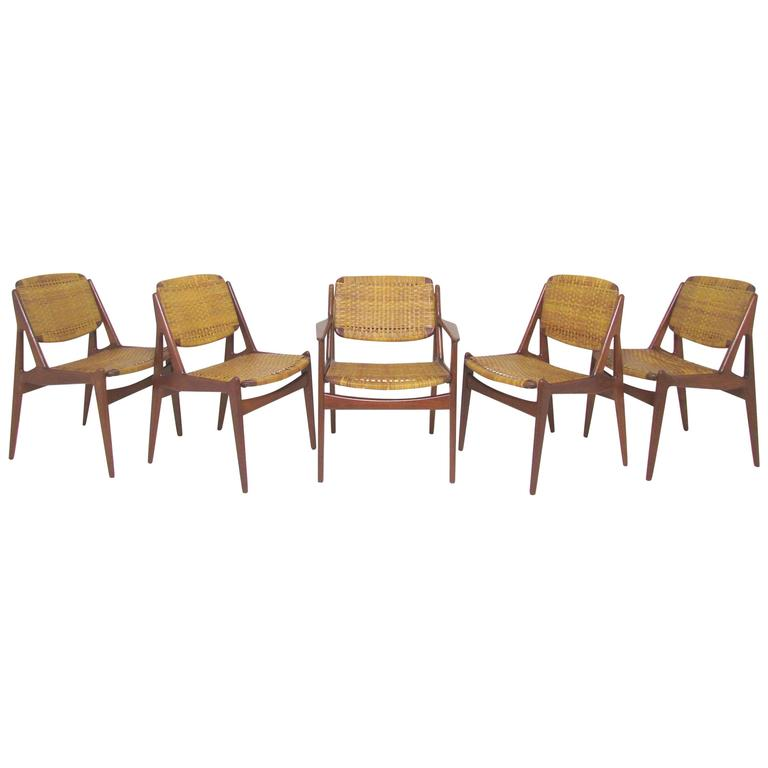 Set of Five Danish Teak and Cane Dining Chairs by Arne Vodder for Vamo