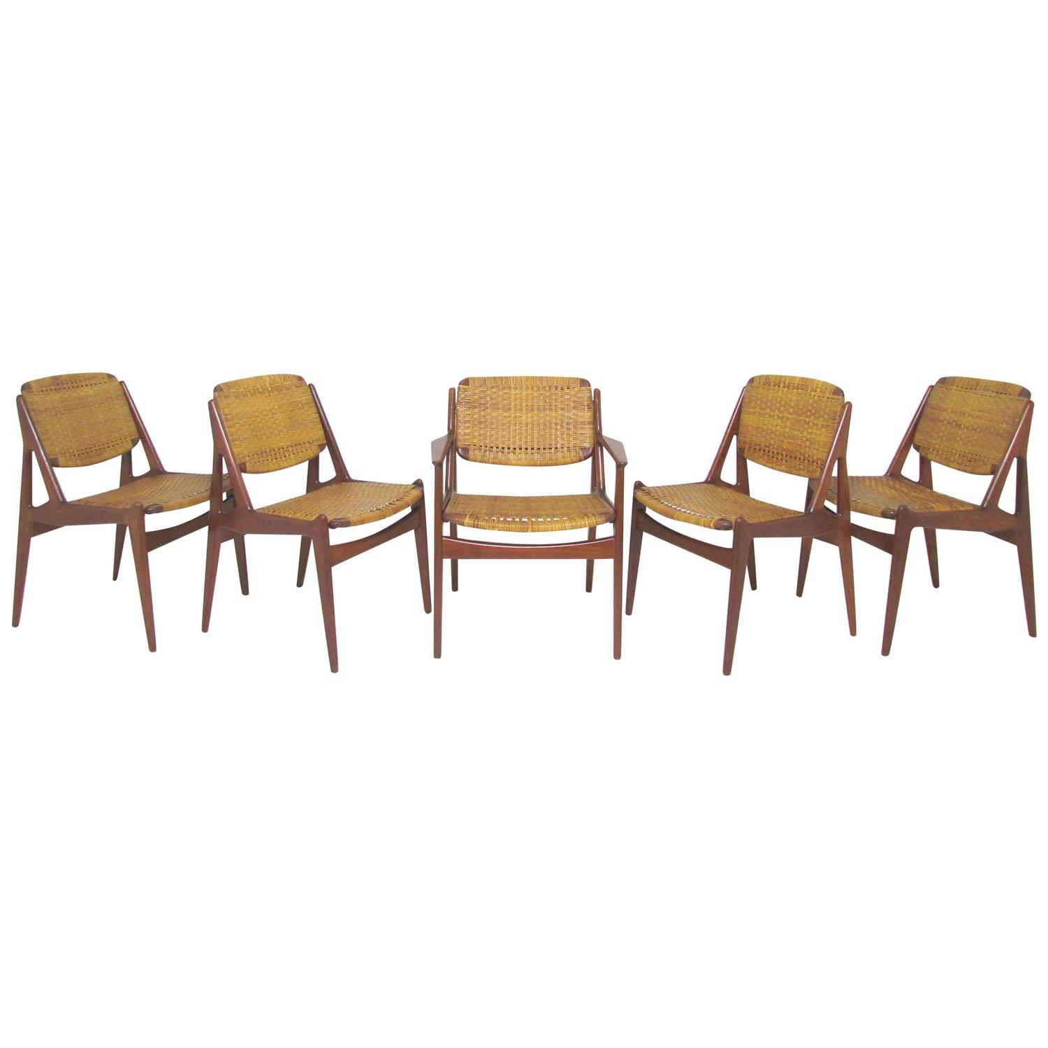 Danish Modern Arne Vodder Set of Six Dining Chairs with Cane Back
