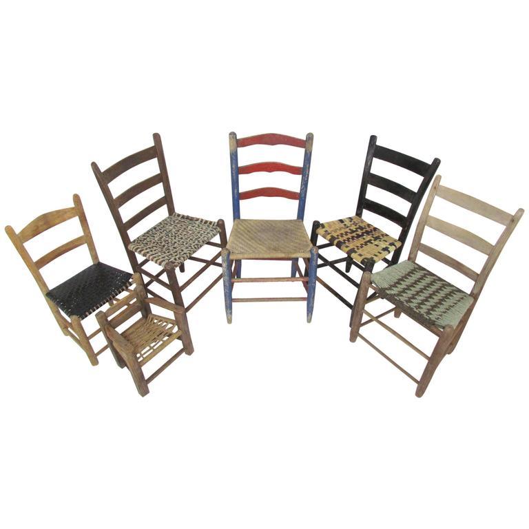 Antique Primitive Folk Art Chair Collection, Set of Six