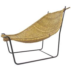 Rattan and Wrought Iron Sling Lounge Chair in Manner of John Risley, circa 1950s
