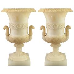 French Carved Alabaster Urn Pair Table Lamps Art Deco Century Grand Tour Style