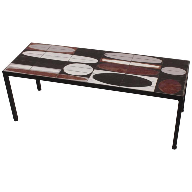 Coffee Table Ellipse Enameled Slate Tiles By Roger Capron Vallauris For Sale At 1stdibs