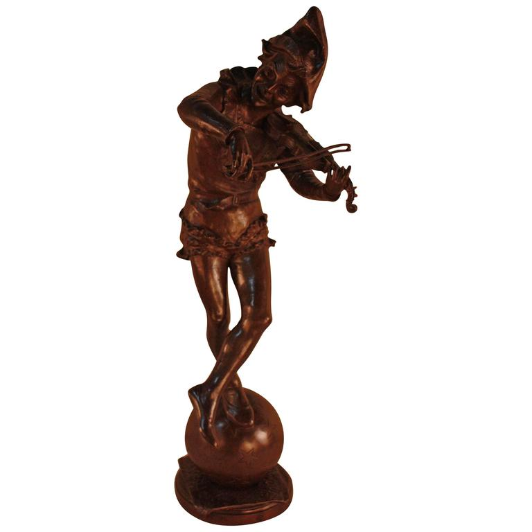 Bronze Sculpture of Harlequin Violinist by Jules Weyns For Sale