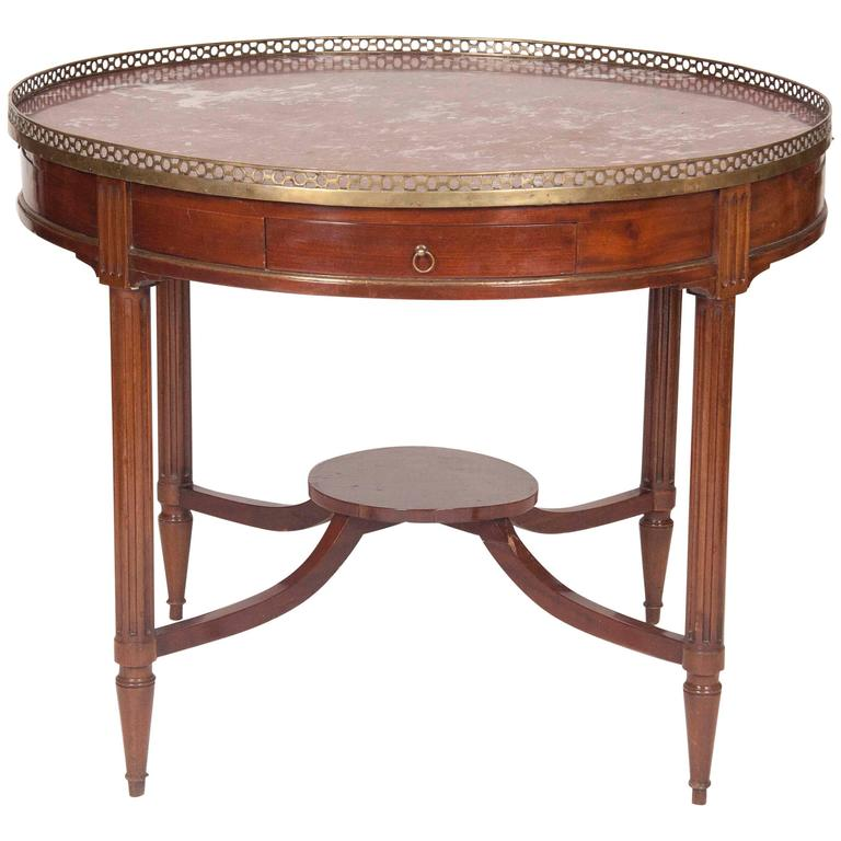 French Mahogany Bouillotte Center Table, Large-Scale