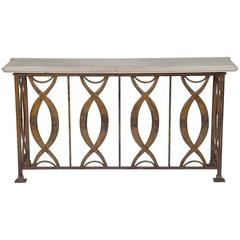 Art Moderne Painted Iron Console Table with Marble Top