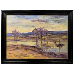 "Lovely Mid-Century Oil Painting ""At The Lake"", Signed, circa 1950"