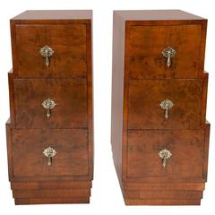Pair of Stepped Art Deco Bedside Cabinets