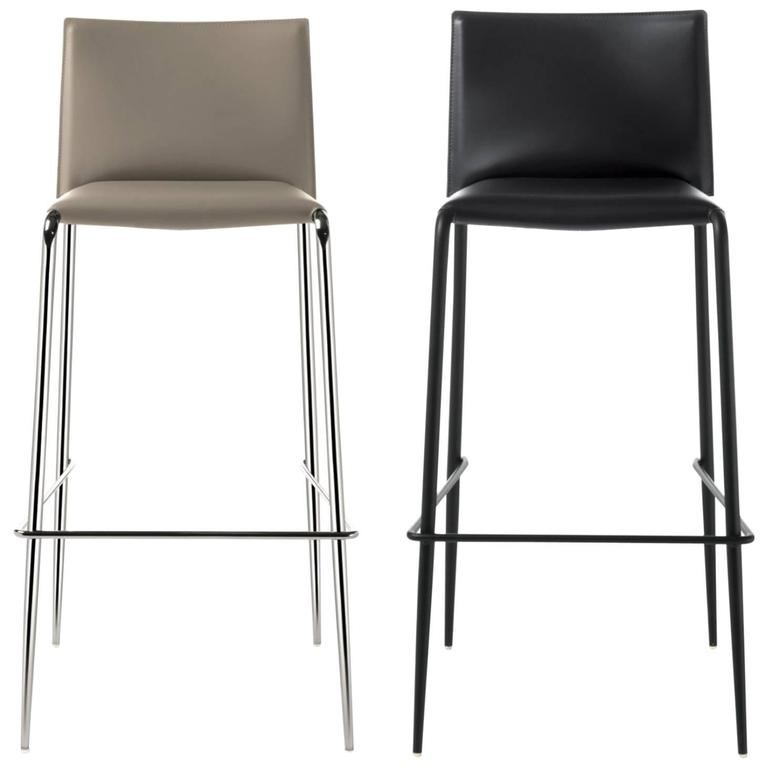 Italian Modern Bar Stool Made of Leather, Made in Italy, New 30 Colors Available