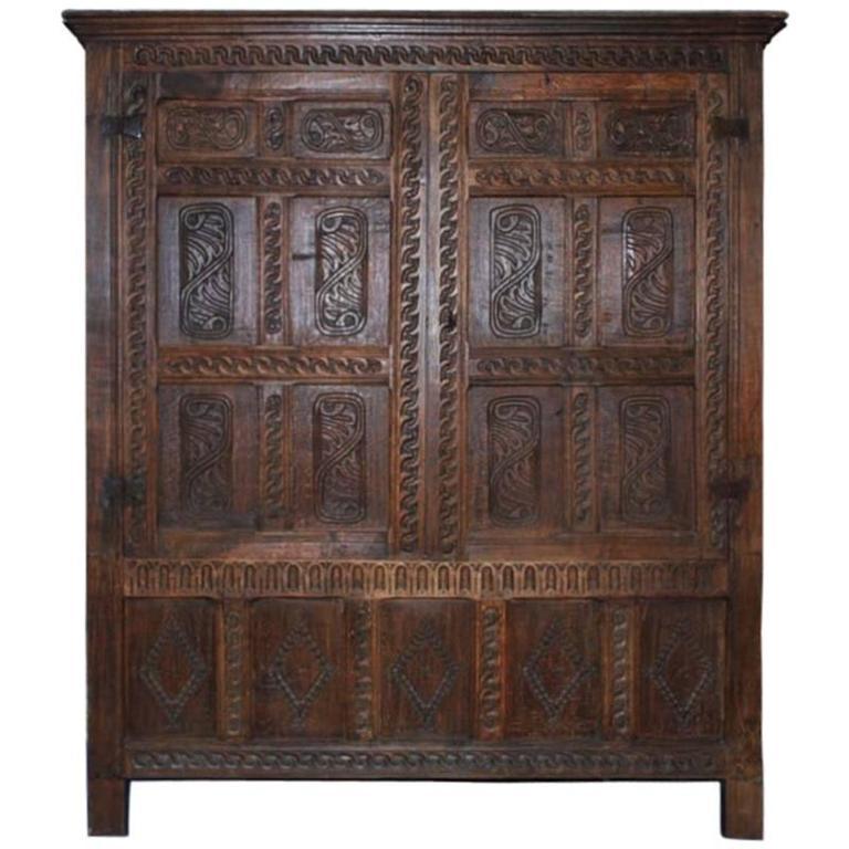 17th Century Jacobean Oakwood Cabinet or Wardrobe