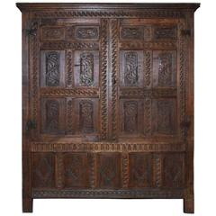 17th Century Jacobean Oakwood Cabinet or Wardrobe