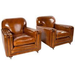 Quality Pair of Leather Art Deco Armchairs