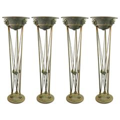 Italian Grand Tour Iron and Copper Torchiere Floor Lamps, Set of Four