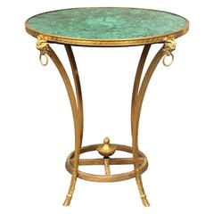 Late 19th Century Gilt Bronze and Giltwood Empire Style Malachite Lamp Table