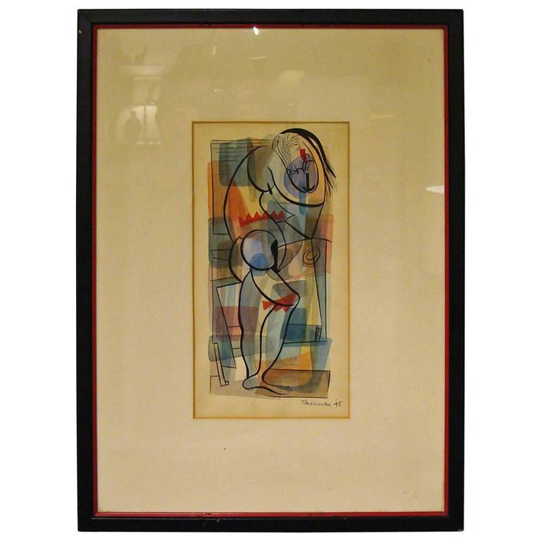 Superb Mid-Century Watercolor 1 of 2 For Sale